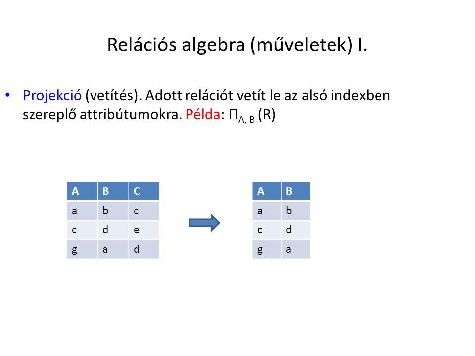 Relációs algebra (műveletek) I. Projekció (vetítés). Adott relációt vetít le az alsó indexben szereplő attribútumokra. Példa: Π A, B (R) ABC abc cde g