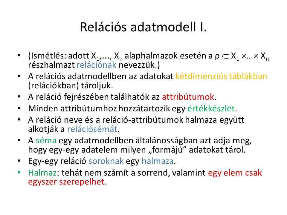Relációs adatmodell I. (Ismétlés: adott X 1, …, X n alaphalmazok esetén a ρ  X 1  …  X n részhalmazt relációnak nevezzük.) A relációs adatmodellben