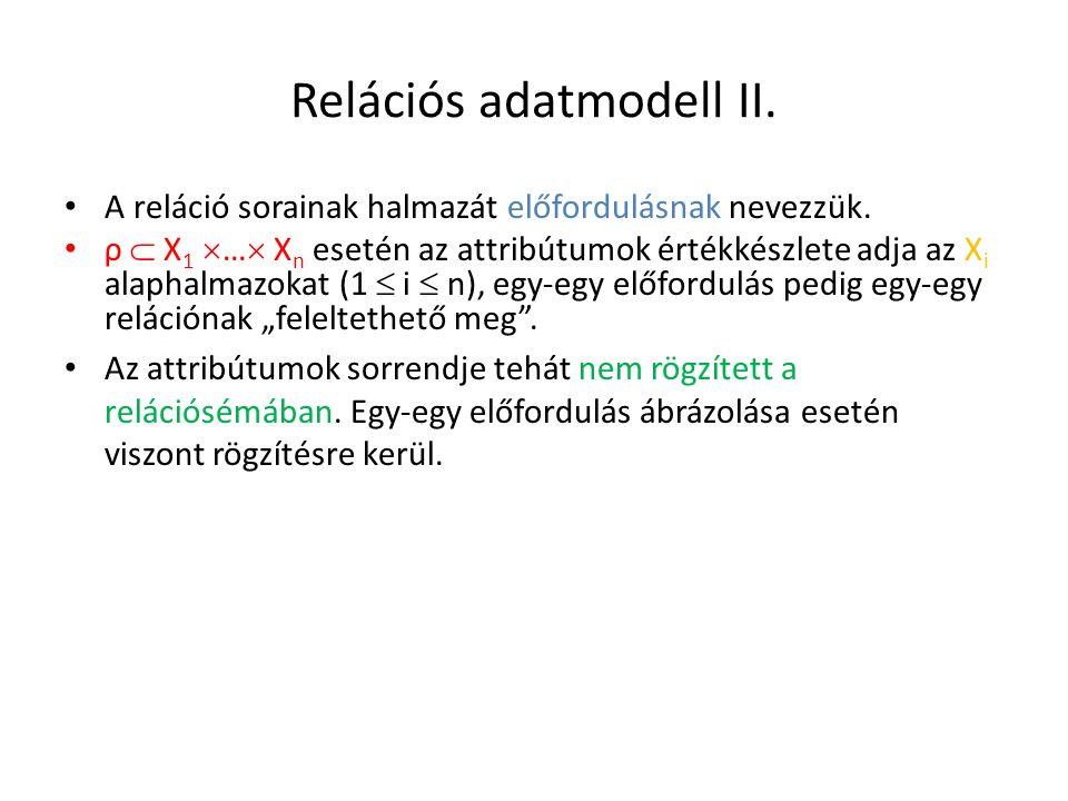 Relációs adatmodell II. A reláció sorainak halmazát előfordulásnak nevezzük. ρ  X 1  …  X n esetén az attribútumok értékkészlete adja az X i alapha