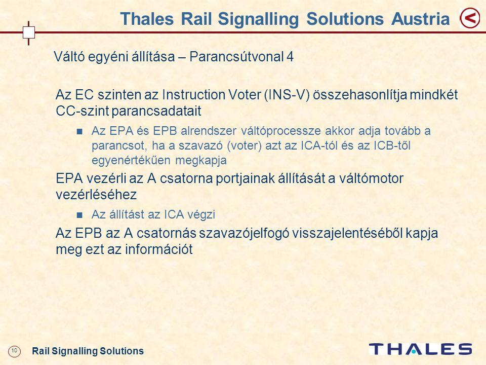 10 Rail Signalling Solutions Thales Rail Signalling Solutions Austria Váltó egyéni állítása – Parancsútvonal 4 Az EC szinten az Instruction Voter (INS