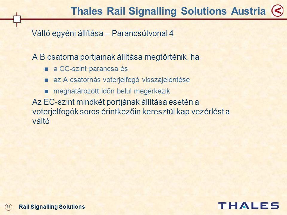 11 Rail Signalling Solutions Thales Rail Signalling Solutions Austria A B csatorna portjainak állítása megtörténik, ha a CC-szint parancsa és az A csa