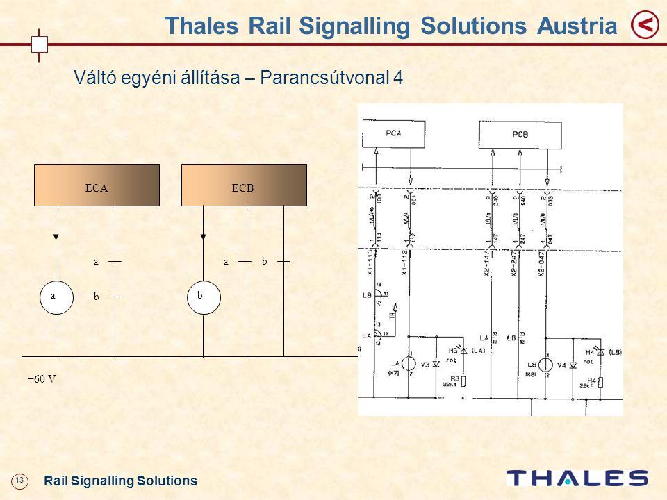 13 Rail Signalling Solutions Thales Rail Signalling Solutions Austria Váltó egyéni állítása – Parancsútvonal 4 ECA a +60 V ECB b aab b