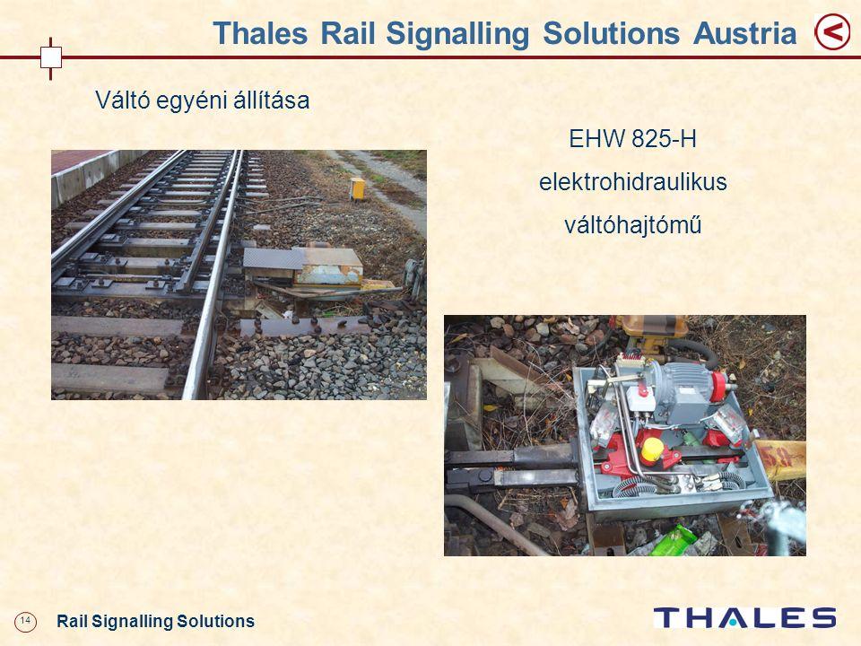 14 Rail Signalling Solutions Thales Rail Signalling Solutions Austria Váltó egyéni állítása EHW 825-H elektrohidraulikus váltóhajtómű