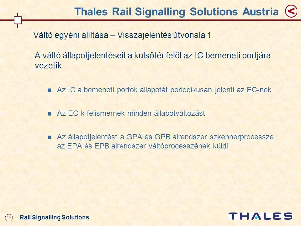 16 Rail Signalling Solutions Thales Rail Signalling Solutions Austria Váltó egyéni állítása – Visszajelentés útvonala 1 A váltó állapotjelentéseit a k