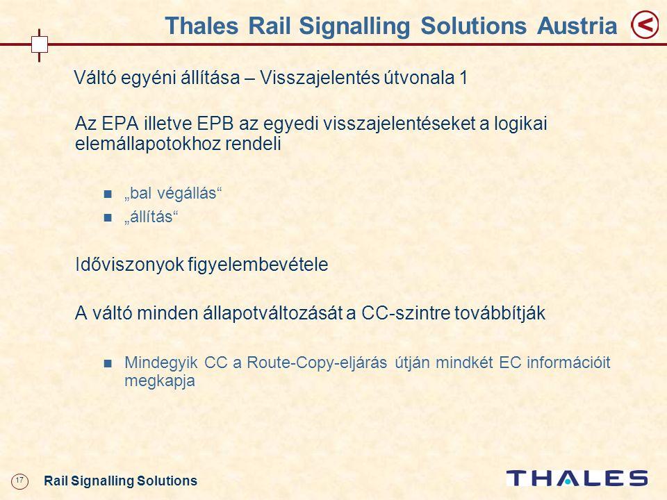 17 Rail Signalling Solutions Thales Rail Signalling Solutions Austria Váltó egyéni állítása – Visszajelentés útvonala 1 Az EPA illetve EPB az egyedi v