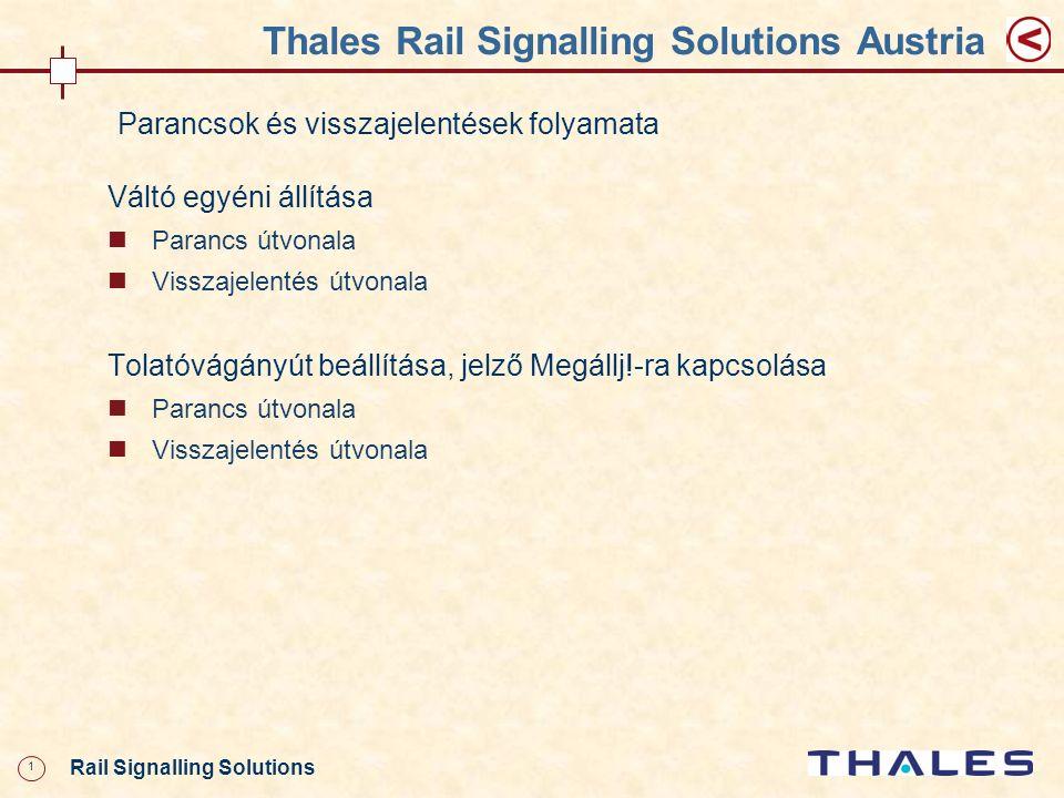 12 Rail Signalling Solutions Thales Rail Signalling Solutions Austria CCA VCA XGIOS MVA HMI ECA GPAEPA ECB GPBEPB EC CC CCB HW-Interf ész ICA IC-A ICB IC-B IC GVA (DIS-V) ICA GCA (CMD- V) (MSG- V) ICB GCB (CMD- V) (MSG- V) (INS-V) Kezelőszervek Váltó egyéni állítása – Parancsútvonal 4