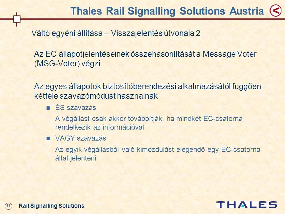 19 Rail Signalling Solutions Thales Rail Signalling Solutions Austria Váltó egyéni állítása – Visszajelentés útvonala 2 Az EC állapotjelentéseinek öss