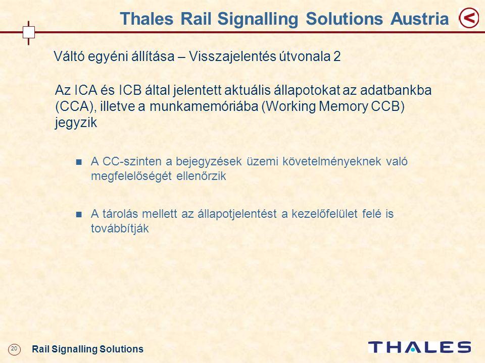 20 Rail Signalling Solutions Thales Rail Signalling Solutions Austria Váltó egyéni állítása – Visszajelentés útvonala 2 Az ICA és ICB által jelentett