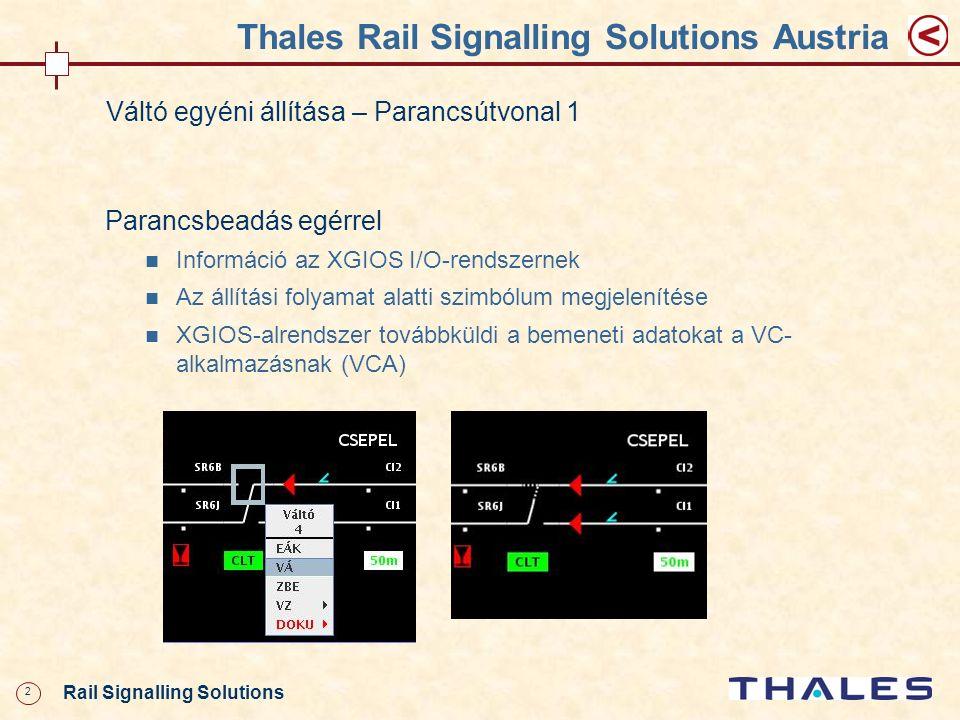 3 Rail Signalling Solutions CCA Thales Rail Signalling Solutions Austria Váltó egyéni állítása – Parancsútvonal 1 VCA XGIOS MVA HMI ECA GPAEPA ECB GPBEPB EC CC CCB HW-Interf ész ICA IC-A ICB IC-B IC Kezelőszervek GVA (DIS-V) ICA GCA (CMD- V) (MSG- V) ICB GCB (CMD- V) (MSG- V) (INS-V)