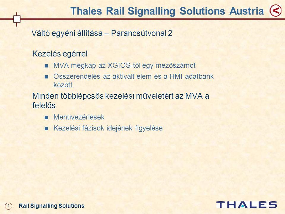 5 Rail Signalling Solutions Thales Rail Signalling Solutions Austria Váltó egyéni állítása – Parancsútvonal 2 A parancsbevitel lezárása után állítási parancs a CC felé VCA megküldi a parancs adatait a CCA-nak Az ELEKTRA kommunikációs rendszere továbbítja a parancs adatait a CCB felé is (Route-Copy-eljárás) A VCA invertálva közvetlenül is megküldi a parancs adatait a CCB-nek Az ELEKTRA kommunikációs rendszere továbbítja a parancs adatait a CCA felé is (Route-Copy-eljárás)