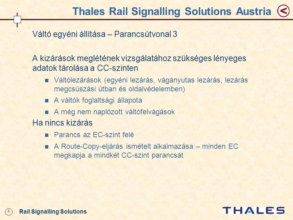 29 Rail Signalling Solutions Thales Rail Signalling Solutions Austria Tolatóvágányút beállítása – Parancsútvonal * Megengedhetőség, váltóvezérlés, vágányútlezárás, megcsúszási út lezárása, tolatásjelző szabdra vezérlése VCA XGIOS MVA HMI ECA GPAEPA ECB GPBEPB EC CC CCB CCA HW-Interf ész ICA IC-A ICB IC-B IC Kezelőszervek GVA (DIS-V) ICA GCA (CMD- V) (MSG- V) ICB GCB (CMD- V) (MSG- V) (INS-V) copy (CMD- V) CMD-V) *** ** váltóvezérlés, tolatásjelző szabdra vezérlése