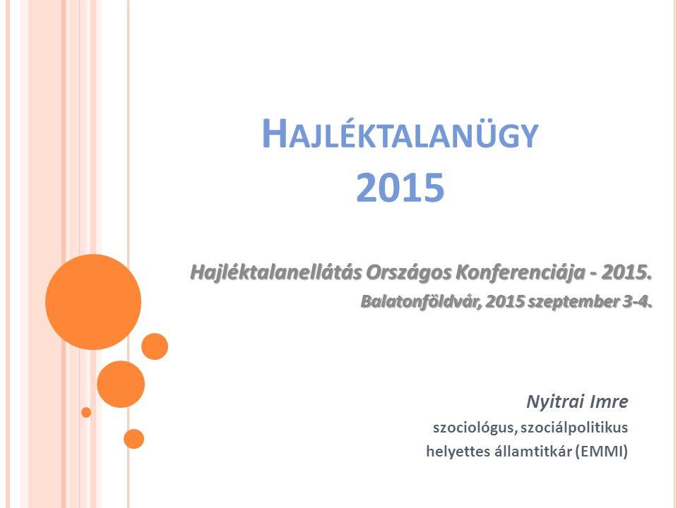 H AJLÉKTALANÜGY 2015 Nyitrai Imre szociológus, szociálpolitikus helyettes államtitkár (EMMI) Hajléktalanellátás Országos Konferenciája - 2015. Hajlékt