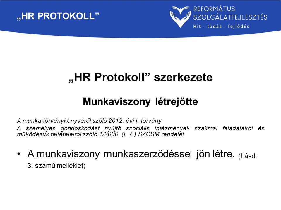 """""""HR PROTOKOLL"""" """"HR Protokoll"""" szerkezete Munkaviszony létrejötte A munka törvénykönyvéről szóló 2012. évi I. törvény A személyes gondoskodást nyújtó s"""