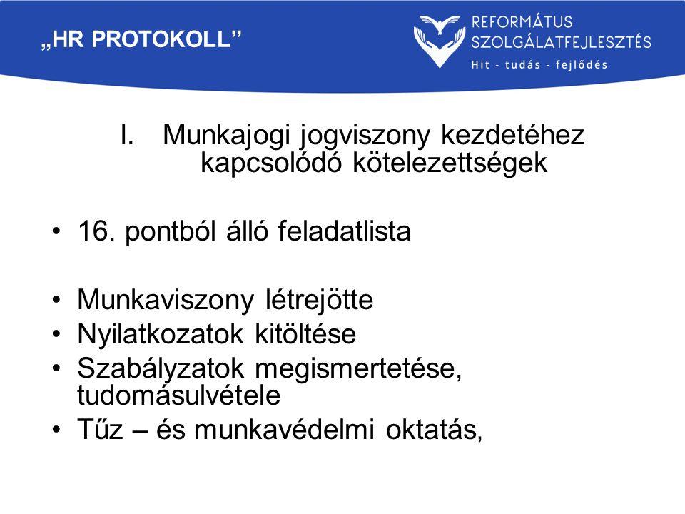 """""""HR PROTOKOLL"""" I.Munkajogi jogviszony kezdetéhez kapcsolódó kötelezettségek 16. pontból álló feladatlista Munkaviszony létrejötte Nyilatkozatok kitölt"""