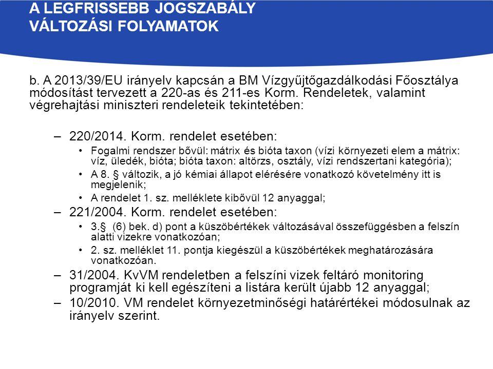 b. A 2013/39/EU irányelv kapcsán a BM Vízgyűjtőgazdálkodási Főosztálya módosítást tervezett a 220-as és 211-es Korm. Rendeletek, valamint végrehajtási