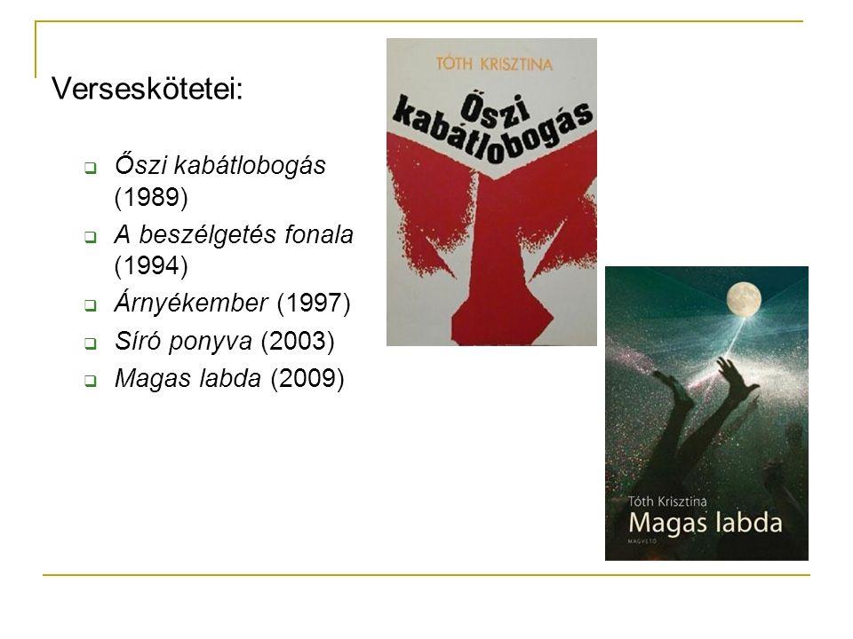 Verseskötetei:  Őszi kabátlobogás (1989)  A beszélgetés fonala (1994)  Árnyékember (1997)  Síró ponyva (2003)  Magas labda (2009)