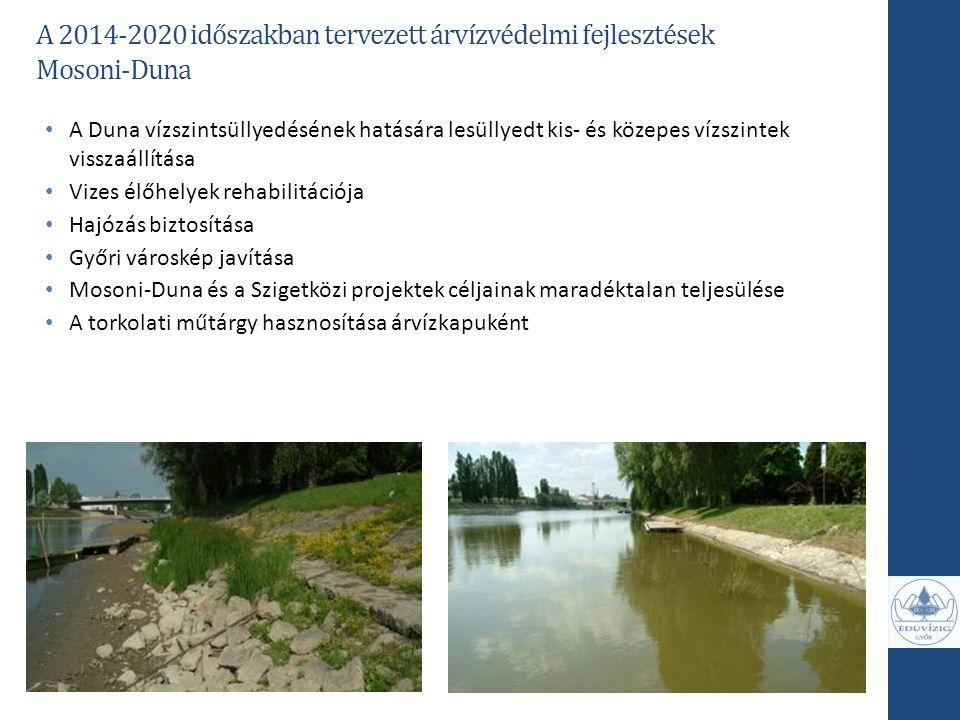 A Duna vízszintsüllyedésének hatására lesüllyedt kis- és közepes vízszintek visszaállítása Vizes élőhelyek rehabilitációja Hajózás biztosítása Győri v
