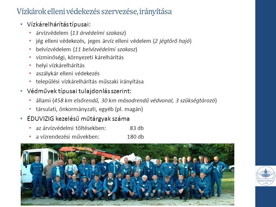 Vízkárok elleni védekezés szervezése, irányítása Vízkárelhárítás típusai: árvízvédelem (13 árvédelmi szakasz) jég elleni védekezés, jeges árvíz elleni