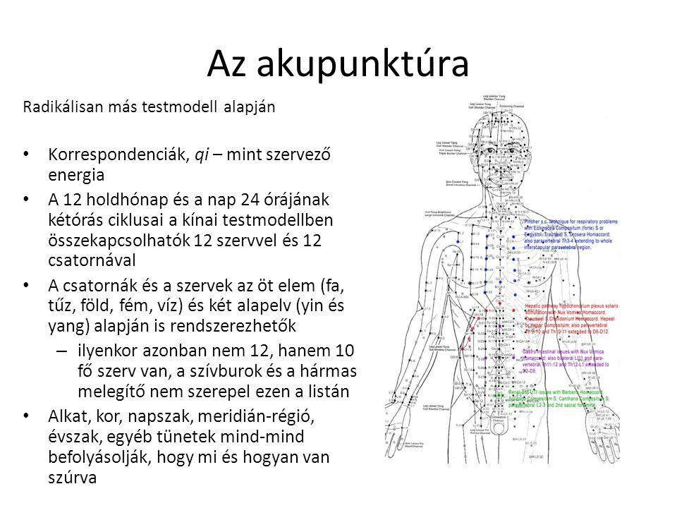 Az akupunktúra Radikálisan más testmodell alapján Korrespondenciák, qi – mint szervező energia A 12 holdhónap és a nap 24 órájának kétórás ciklusai a