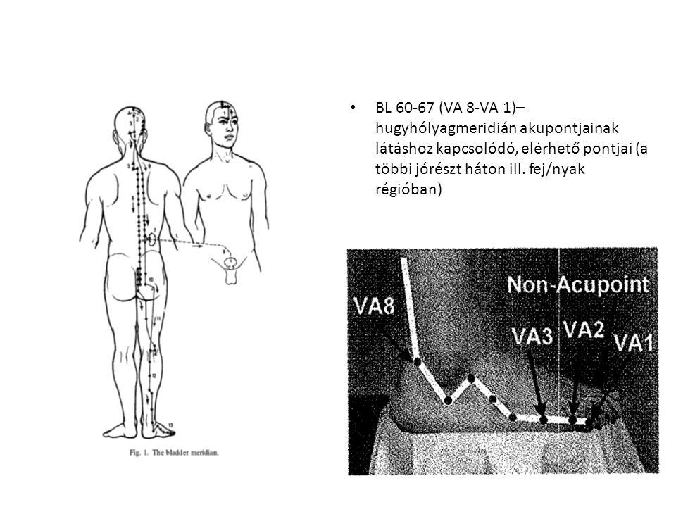 BL 60-67 (VA 8-VA 1)– hugyhólyagmeridián akupontjainak látáshoz kapcsolódó, elérhető pontjai (a többi jórészt háton ill. fej/nyak régióban)