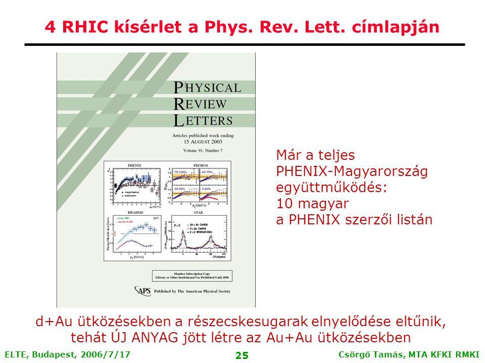 Csörgő Tamás, MTA KFKI RMKI 24 ELTE, Budapest, 2006/7/17 STAR: Szögeloszlások és kifutó-befutó sugárpárok pedestal and flow subtracted Kifutó irány: p+p, d+Au, Au+Au hasonlóan viselkedik Befutó irány: Au+Au ütközésben elnyelődés, p+p és d+Au - nincs ez A befutó részecskesugarak elnyelődése a frontális Au+Au ütközésekben létrejövő új anyagon