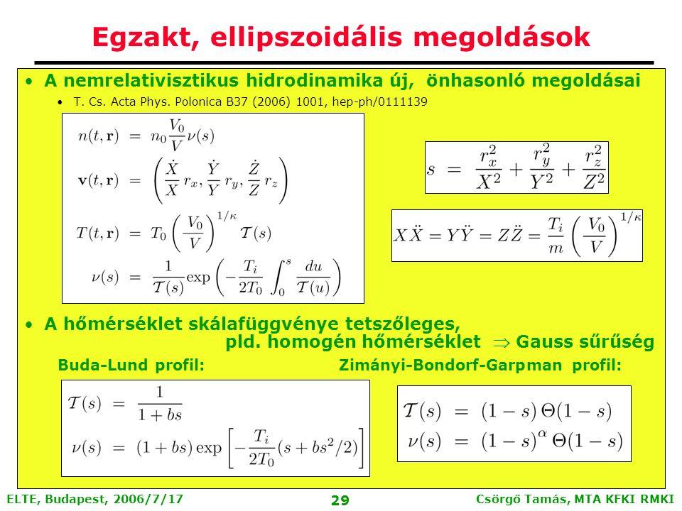 Csörgő Tamás, MTA KFKI RMKI 28 ELTE, Budapest, 2006/7/17 Tökéletes folyadékok hidrodinamikája A nemrelativisztikus hidrodinamika alapegyenletei: Nem zárt, állapotegyenlet kell még: Tökéletes folyadék: definíciók # 1: no bulk and shear viscosities, and no heat conduction.