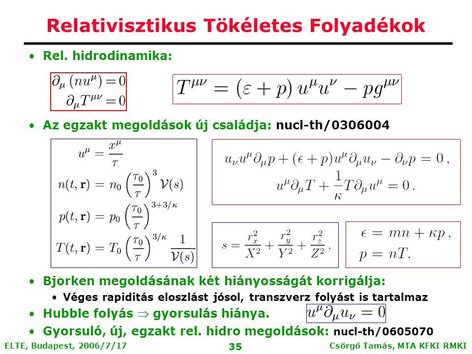 Csörgő Tamás, MTA KFKI RMKI 34 ELTE, Budapest, 2006/7/17 A folyadék dinamika skálajóslatai - Az effektív hőmérsékletek tömeggel arányosan növekednek - Az elliptikus folyás univerzális skálázást jósol.