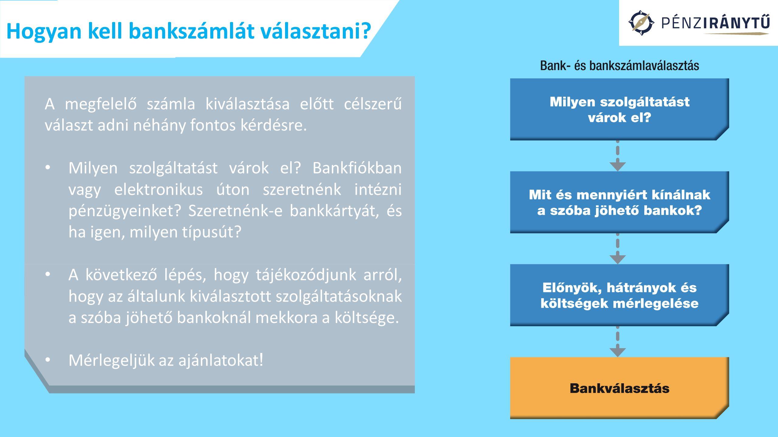 Hogyan kell bankszámlát választani.