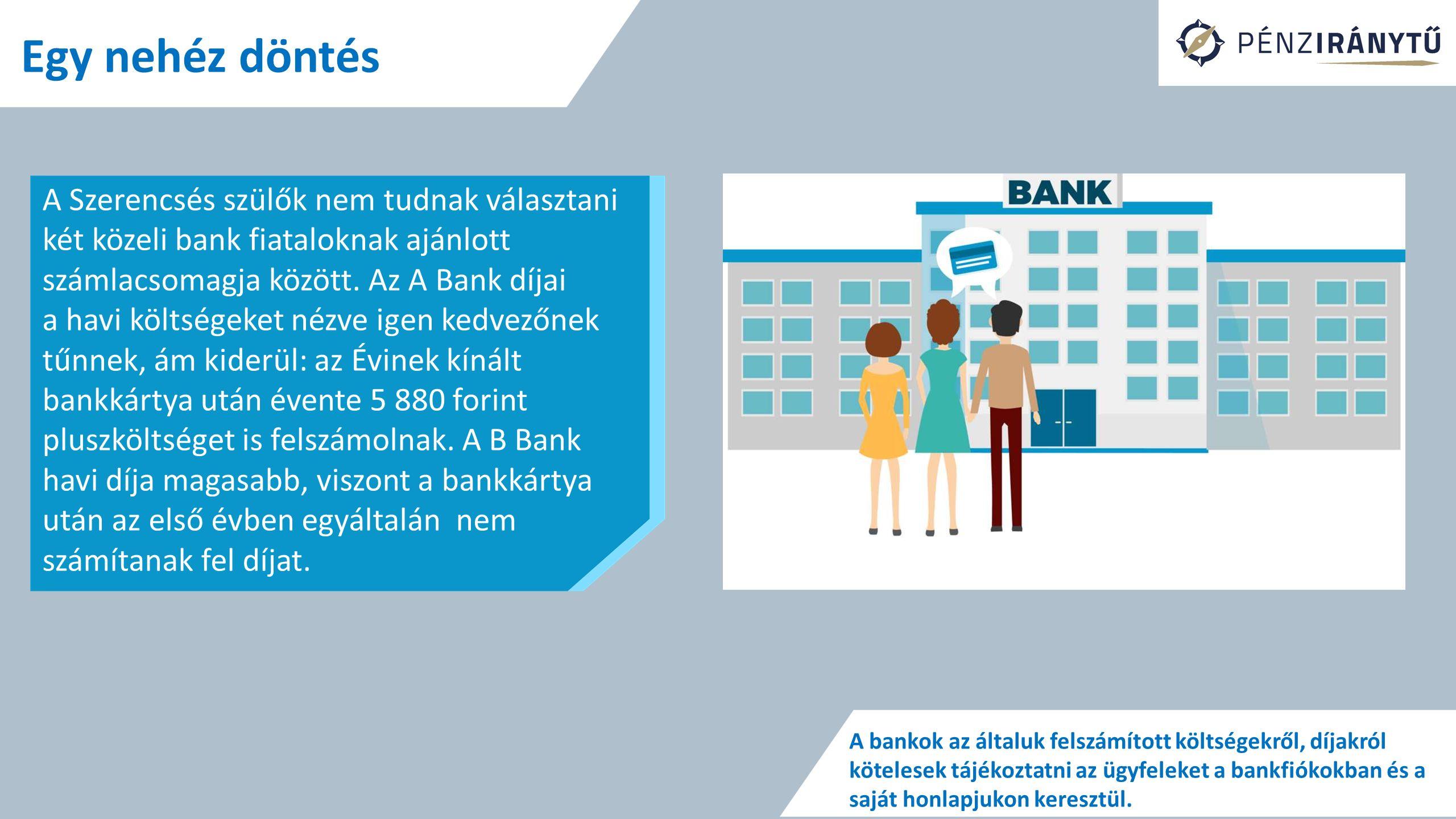 Egy nehéz döntés A Szerencsés szülők nem tudnak választani két közeli bank fiataloknak ajánlott számlacsomagja között.