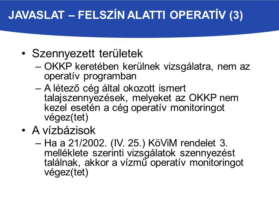Szennyezett területek –OKKP keretében kerülnek vizsgálatra, nem az operatív programban –A létező cég által okozott ismert talajszennyezések, melyeket az OKKP nem kezel esetén a cég operatív monitoringot végez(tet) A vízbázisok –Ha a 21/2002.