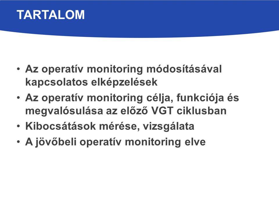 Az operatív monitoring módosításával kapcsolatos elképzelések Az operatív monitoring célja, funkciója és megvalósulása az előző VGT ciklusban Kibocsátások mérése, vizsgálata A jövőbeli operatív monitoring elve TARTALOM