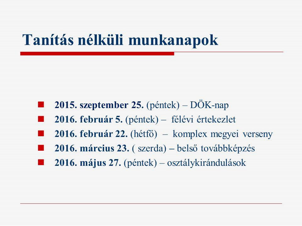 Tanítás nélküli munkanapok 2015. szeptember 25. (péntek) – DÖK-nap 2016. február 5. (péntek) – félévi értekezlet 2016. február 22. (hétfő) – komplex m