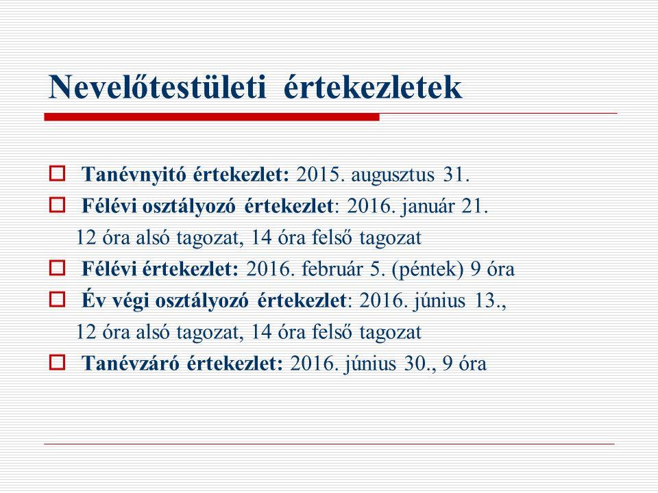 Nevelőtestületi értekezletek  Tanévnyitó értekezlet: 2015. augusztus 31.  Félévi osztályozó értekezlet: 2016. január 21. 12 óra alsó tagozat, 14 óra