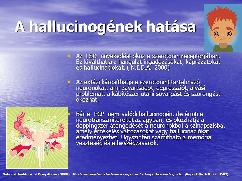 A hallucinogének hatása Az LSD növekedést okoz a szerotonin receptorjában. Ez kiválthatja a hangulat ingadozásokat, káprázatokat és hallucináciokat. (