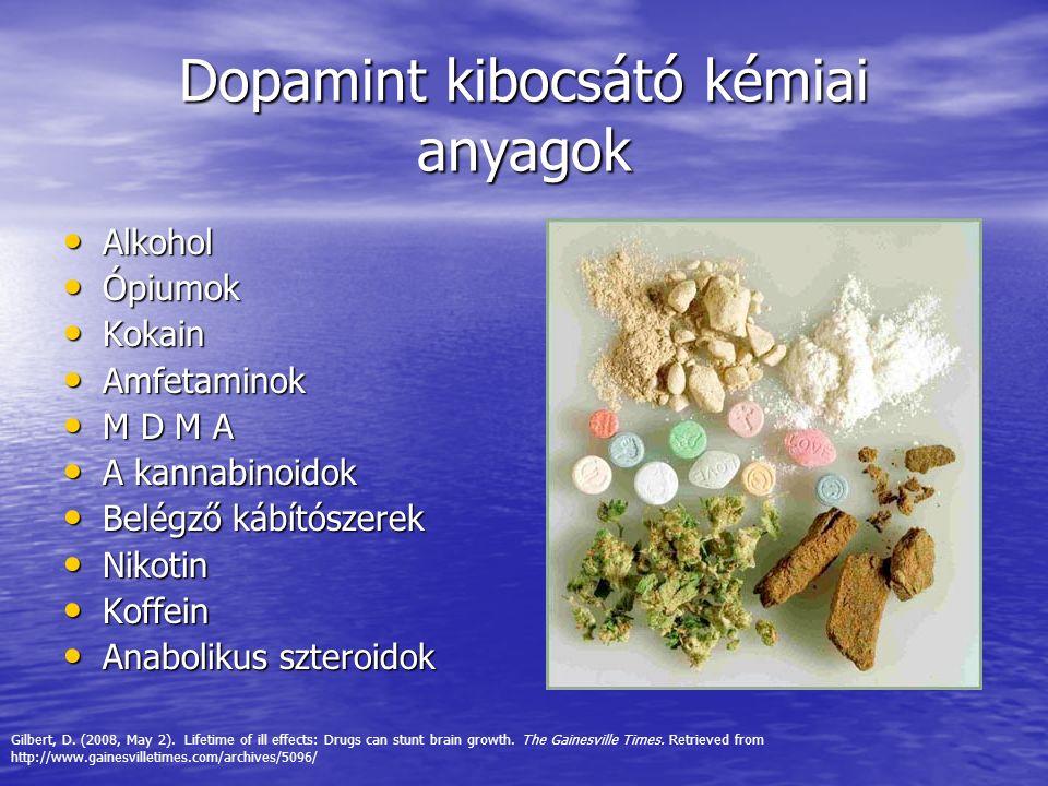 Dopamint kibocsátó kémiai anyagok Alkohol Alkohol Ópiumok Ópiumok Kokain Kokain Amfetaminok Amfetaminok M D M A M D M A A kannabinoidok A kannabinoido