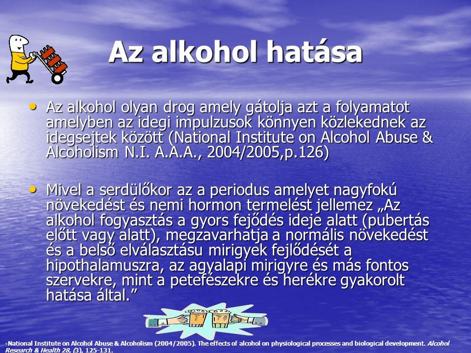 Az alkohol hatása Az alkohol olyan drog amely gátolja azt a folyamatot amelyben az idegi impulzusok könnyen közlekednek az idegsejtek között (National