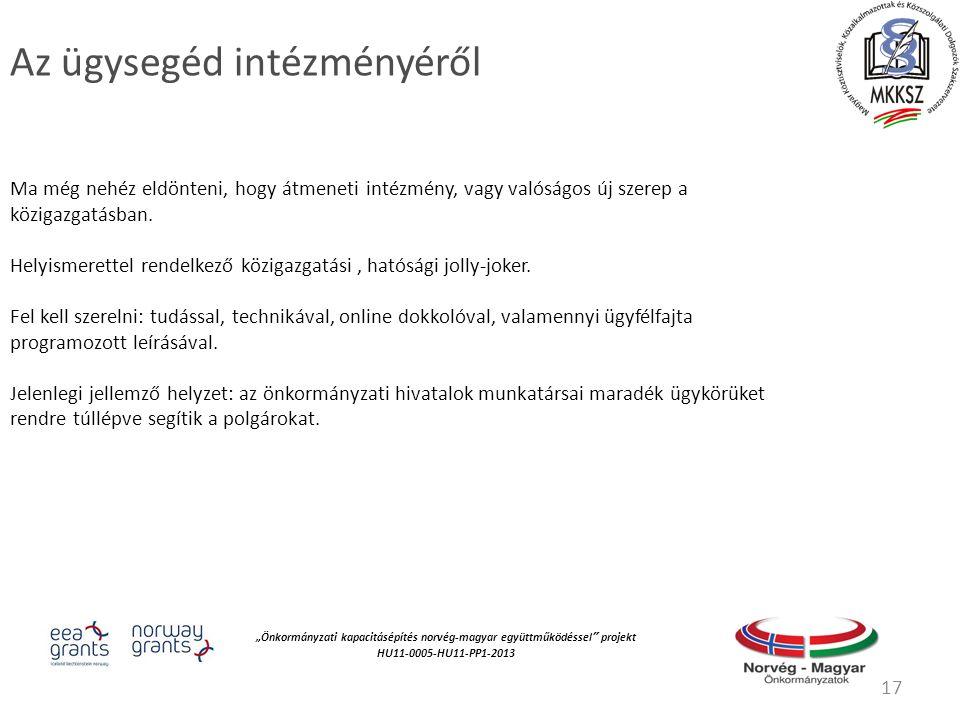 """""""Önkormányzati kapacitásépítés norvég‐magyar együttműködéssel projekt HU11-0005-HU11-PP1-2013 Az ügysegéd intézményéről Ma még nehéz eldönteni, hogy átmeneti intézmény, vagy valóságos új szerep a közigazgatásban."""