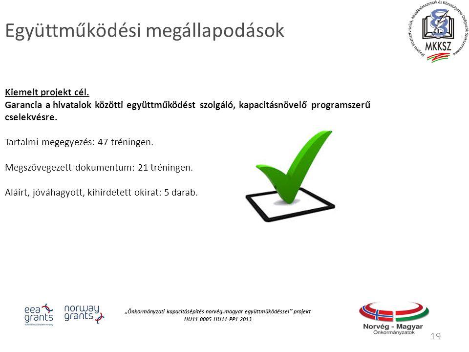 """""""Önkormányzati kapacitásépítés norvég‐magyar együttműködéssel projekt HU11-0005-HU11-PP1-2013 Együttműködési megállapodások Kiemelt projekt cél."""