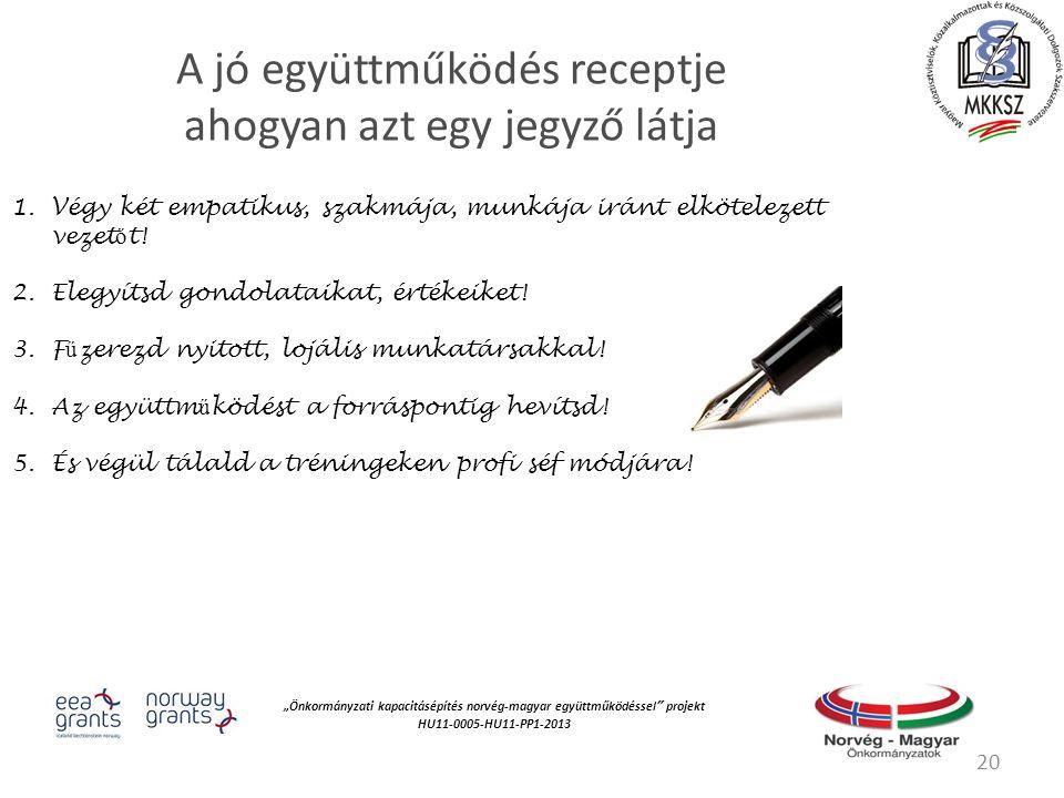 """""""Önkormányzati kapacitásépítés norvég‐magyar együttműködéssel projekt HU11-0005-HU11-PP1-2013 A jó együttműködés receptje ahogyan azt egy jegyző látja 1.Végy két empatikus, szakmája, munkája iránt elkötelezett vezet ő t."""
