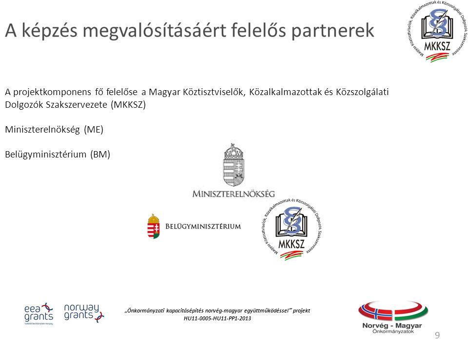 """""""Önkormányzati kapacitásépítés norvég‐magyar együttműködéssel projekt HU11-0005-HU11-PP1-2013 A képzés megvalósításáért felelős partnerek A projektkomponens fő felelőse a Magyar Köztisztviselők, Közalkalmazottak és Közszolgálati Dolgozók Szakszervezete (MKKSZ) Miniszterelnökség (ME) Belügyminisztérium (BM) 9"""