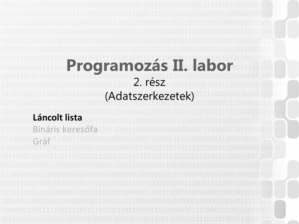 Programozás II. labor 2. rész (Adatszerkezetek) Láncolt lista Bináris keresőfa Gráf