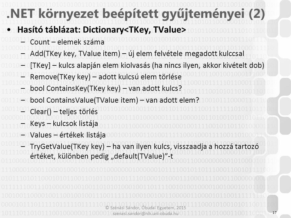 © Szénási Sándor, Óbudai Egyetem, 2015 szenasi.sandor@nik.uni-obuda.hu Hasító táblázat: Dictionary –Count – elemek száma –Add(TKey key, TValue item) –