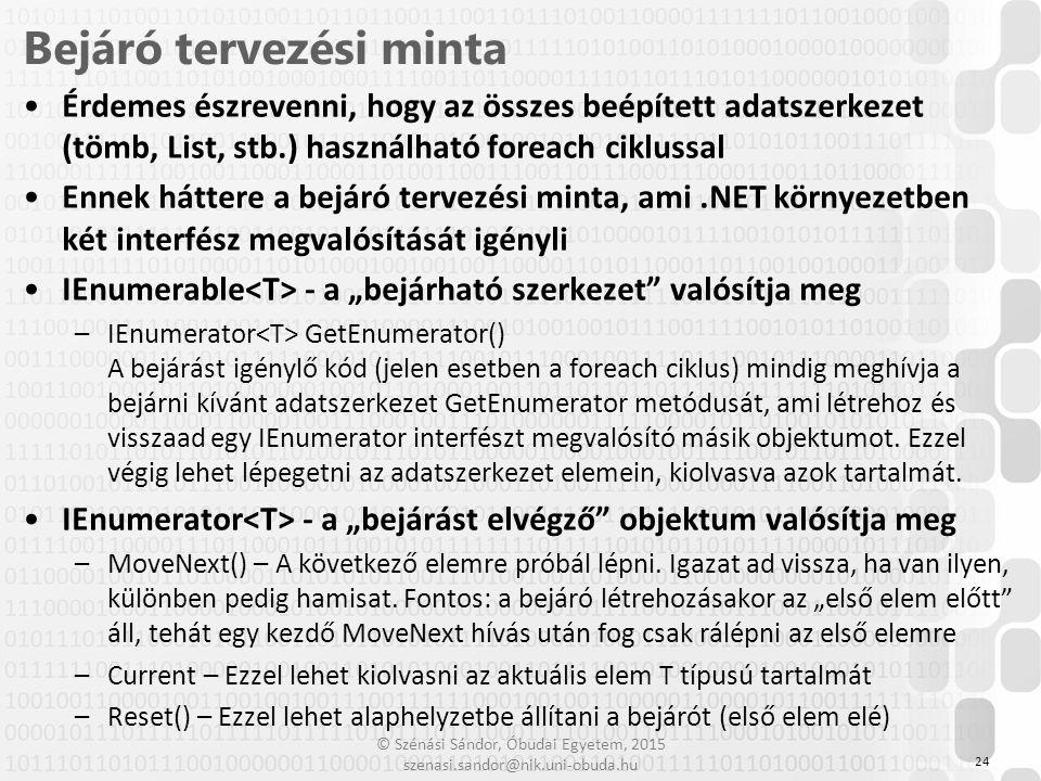 © Szénási Sándor, Óbudai Egyetem, 2015 szenasi.sandor@nik.uni-obuda.hu Érdemes észrevenni, hogy az összes beépített adatszerkezet (tömb, List, stb.) h