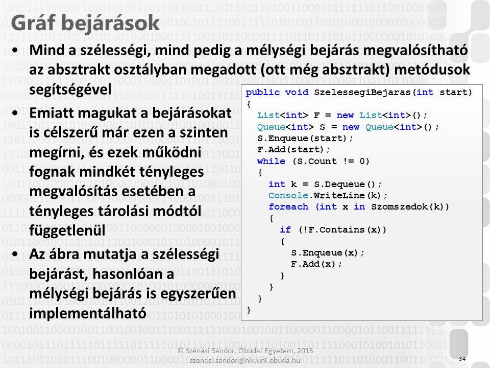 © Szénási Sándor, Óbudai Egyetem, 2015 szenasi.sandor@nik.uni-obuda.hu Mind a szélességi, mind pedig a mélységi bejárás megvalósítható az absztrakt os