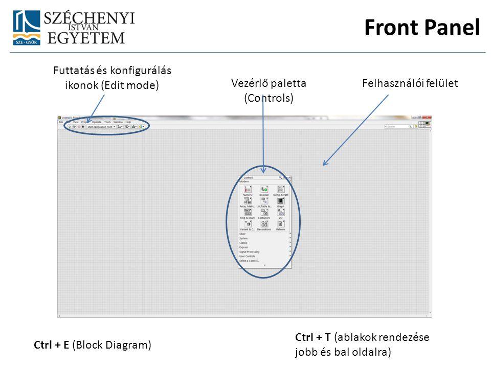 Felhasználói felületVezérlő paletta (Controls) Futtatás és konfigurálás ikonok (Edit mode) Ctrl + E (Block Diagram) Ctrl + T (ablakok rendezése jobb és bal oldalra) Front Panel