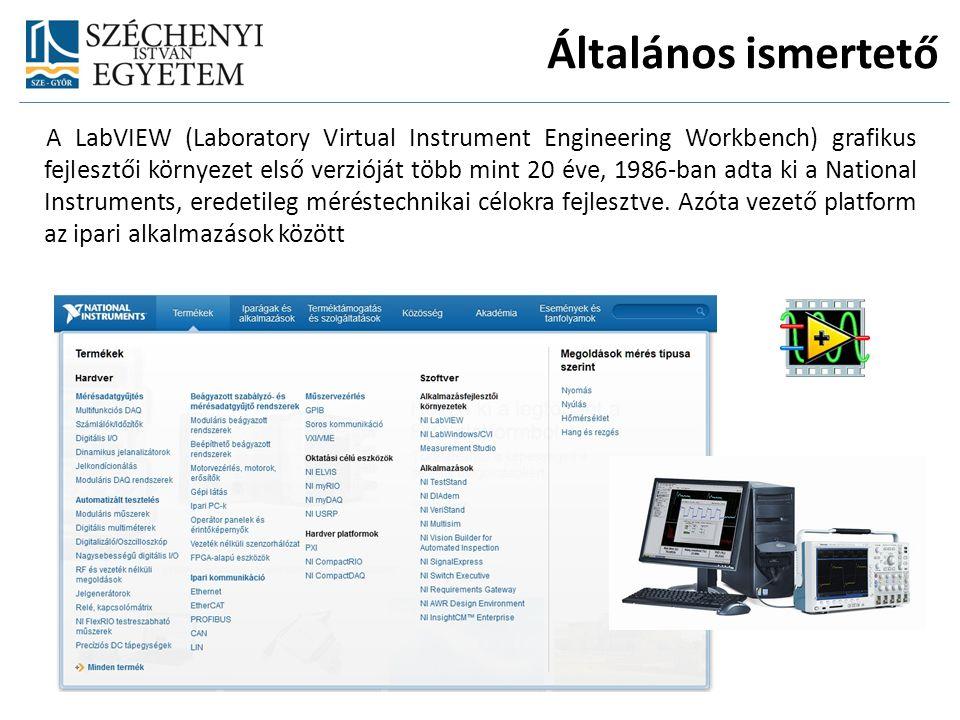 Általános ismertető A LabVIEW (Laboratory Virtual Instrument Engineering Workbench) grafikus fejlesztői környezet első verzióját több mint 20 éve, 1986-ban adta ki a National Instruments, eredetileg méréstechnikai célokra fejlesztve.