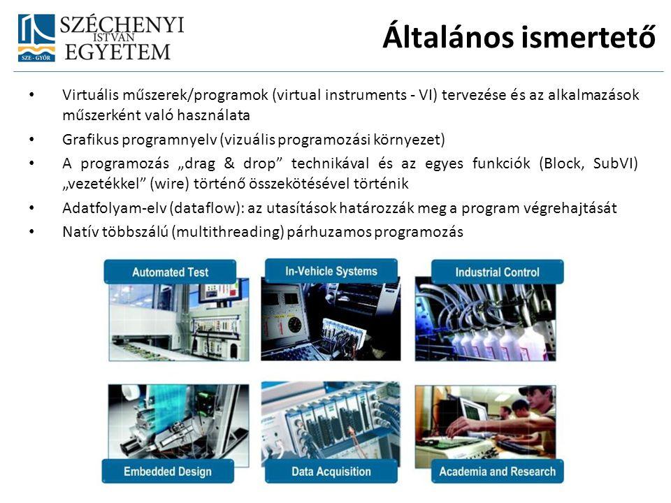 """Virtuális műszerek/programok (virtual instruments - VI) tervezése és az alkalmazások műszerként való használata Grafikus programnyelv (vizuális programozási környezet) A programozás """"drag & drop technikával és az egyes funkciók (Block, SubVI) """"vezetékkel (wire) történő összekötésével történik Adatfolyam-elv (dataflow): az utasítások határozzák meg a program végrehajtását Natív többszálú (multithreading) párhuzamos programozás Általános ismertető"""