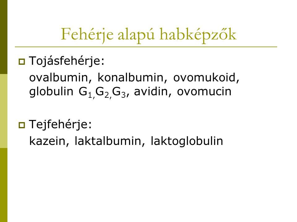 Fehérje alapú habképzők  Tojásfehérje: ovalbumin, konalbumin, ovomukoid, globulin G 1, G 2, G 3, avidin, ovomucin  Tejfehérje: kazein, laktalbumin,