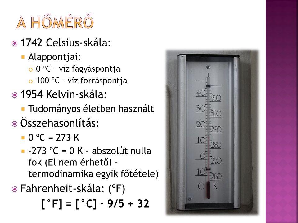  1742 Celsius-skála:  Alappontjai: 0 ºC - víz fagyáspontja 100 ºC - víz forráspontja  1954 Kelvin-skála:  Tudományos életben használt  Összehasonlítás:  0 ºC = 273 K  -273 ºC = 0 K - abszolút nulla fok (El nem érhető.