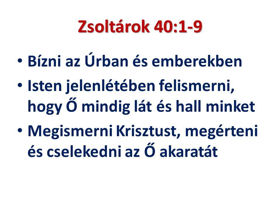 Zsoltárok 40:1-9 Bízni az Úrban és emberekben Isten jelenlétében felismerni, hogy Ő mindig lát és hall minket Megismerni Krisztust, megérteni és cselekedni az Ő akaratát